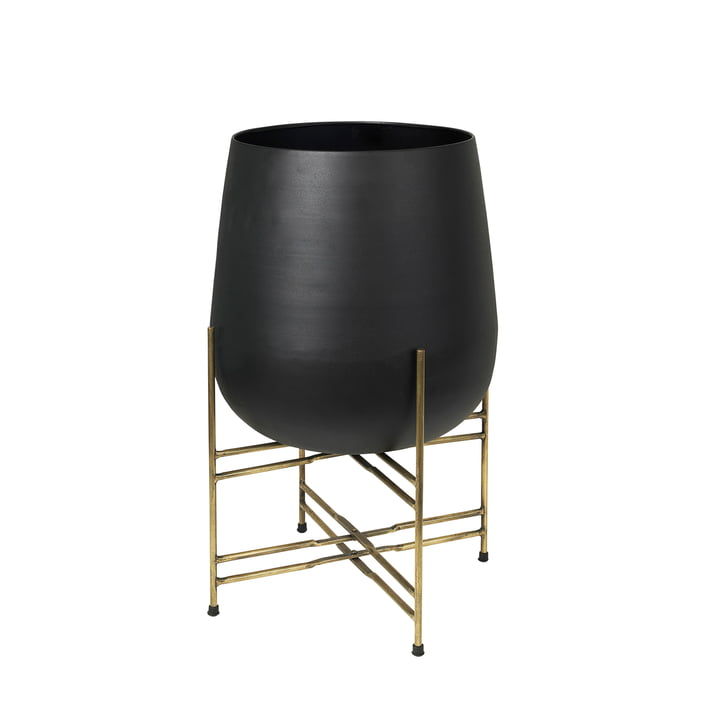 Hege Plant pot with stand, Ø 43 x H 63 cm, brass / black from Broste Copenhagen
