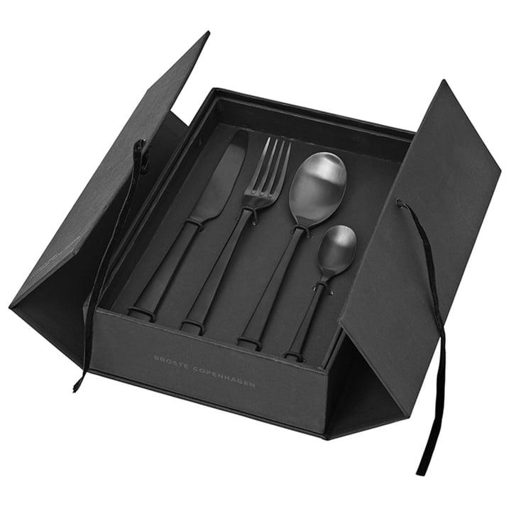 Hune Cutlery set, titanium matt black (16 pcs.) from Broste Copenhagen
