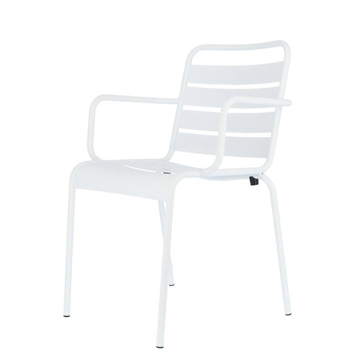 Mya metal chair with armrest from Fiam in white