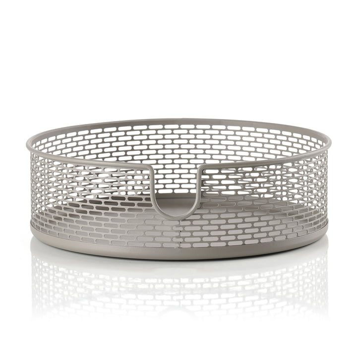 Metal storage basket Ø 20 x H 6,5 cm from Zone Denmark in taupe