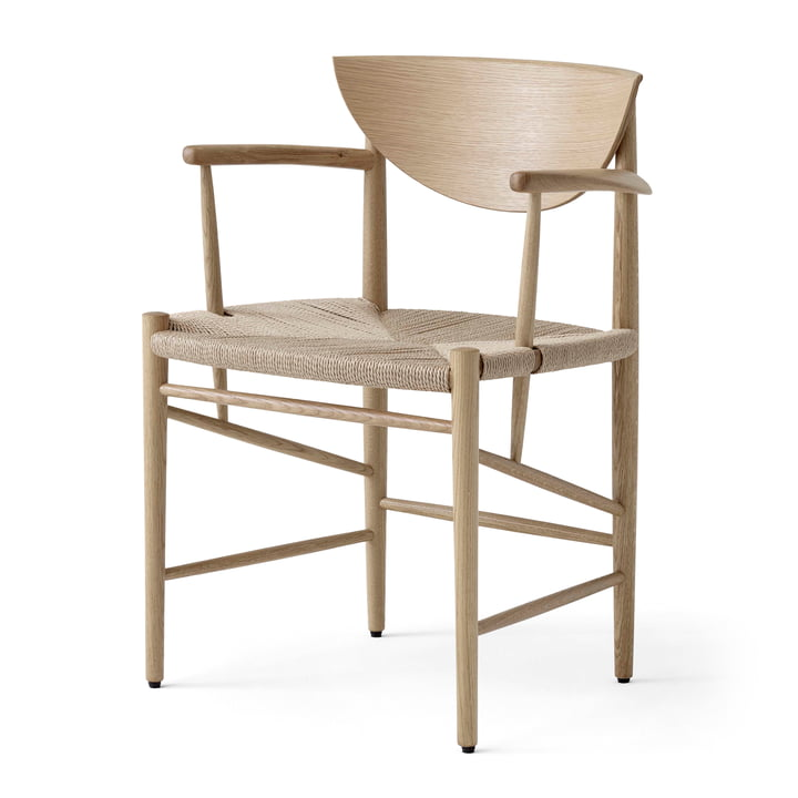 Drawn HM4 Armchair from & tradition in white oiled oak / paper cord natural