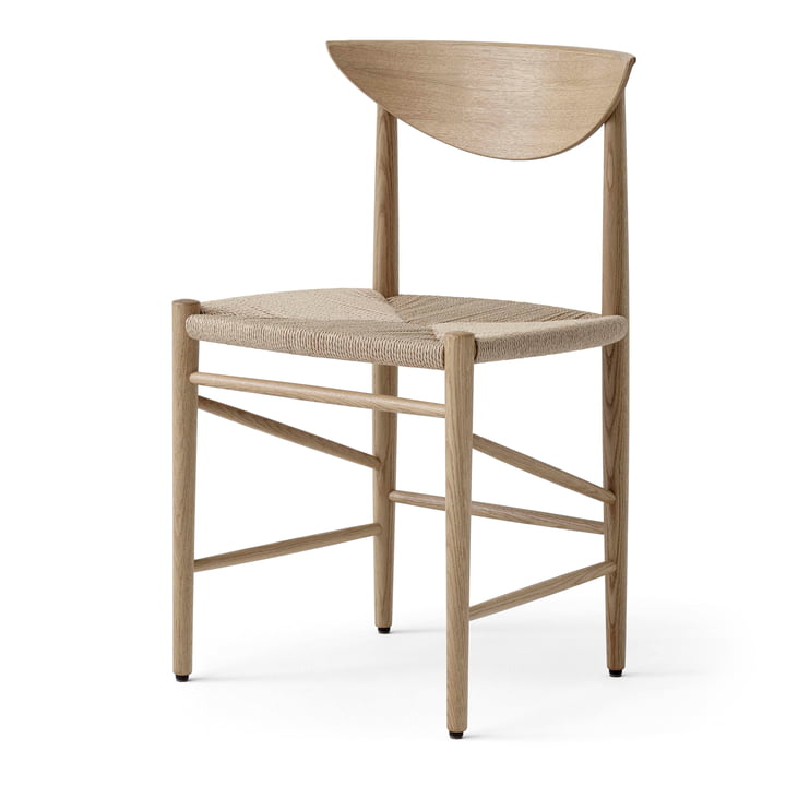 Drawn HM3 Chair from & tradition in white oiled oak / paper cord natural