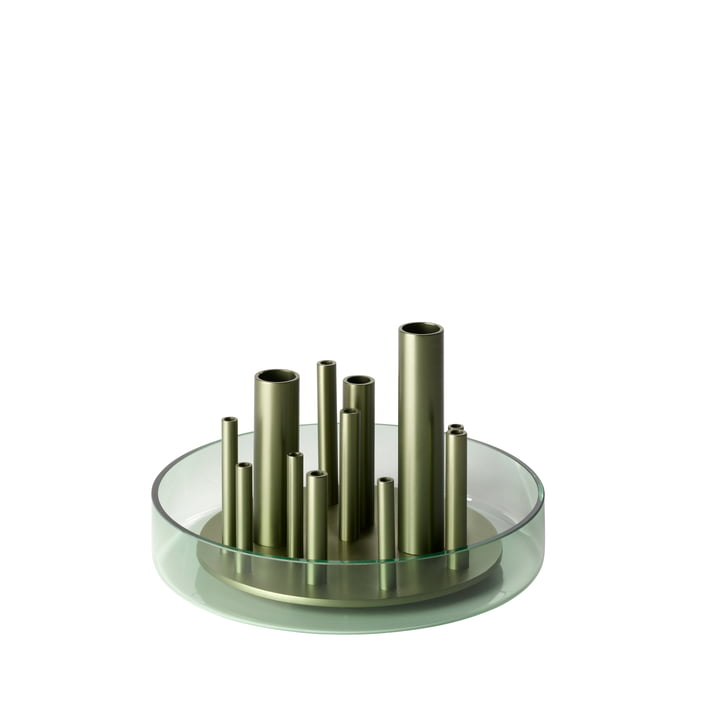 Ikeru Vase Low by Fritz Hansen in forest green