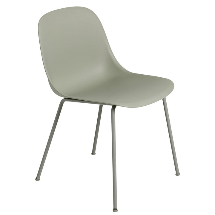 Fiber Side Chair Tube Base, dusty green from Muuto
