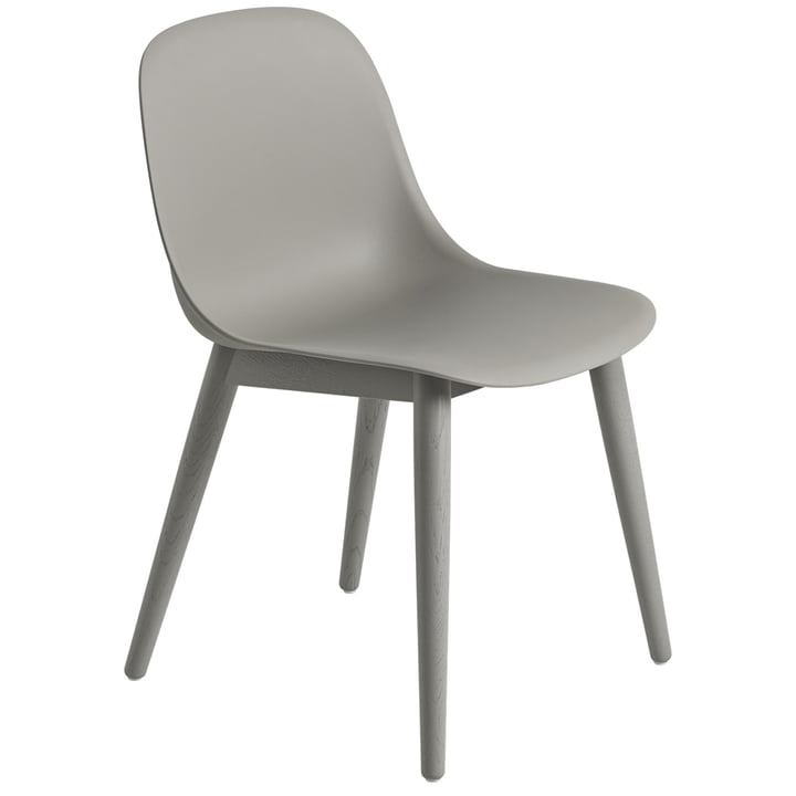Fiber Side Chair Wood Base, grey / grey from Muuto
