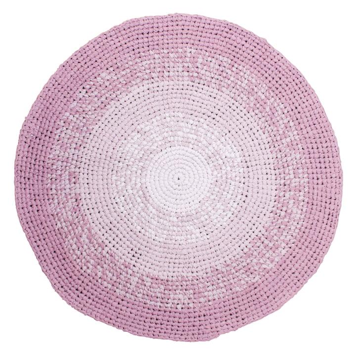 Crochet carpet Ø 120 cm from Sebra in gradient rose
