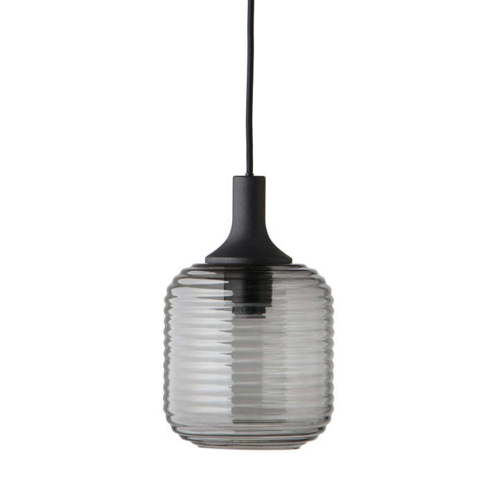 Honey Pendant lamp Ø 26 cm, glass smoke / rubber wood black from Frandsen
