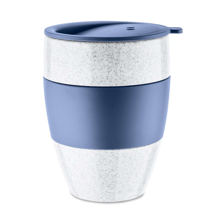 Aroma to go Thermo mug with lid 400 ml from Koziol in organic blue