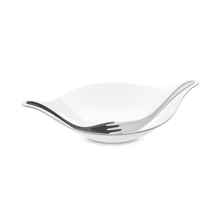 Leaf L+ salad bowl with cutlery 3 l of Koziol in cotton white-deep grey / soft grey