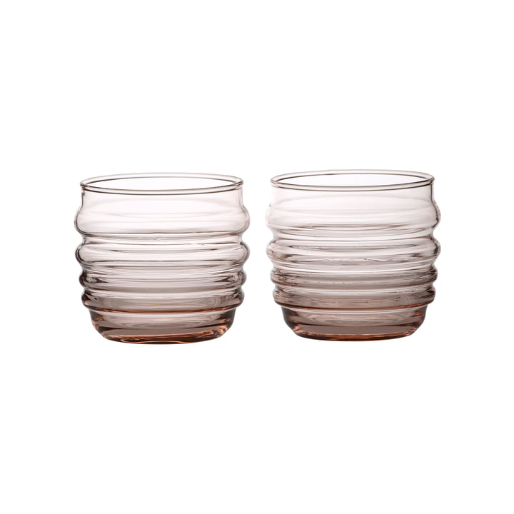 Sukat Makkaralla water glass 200 ml from Marimekko in coral (set of 2)