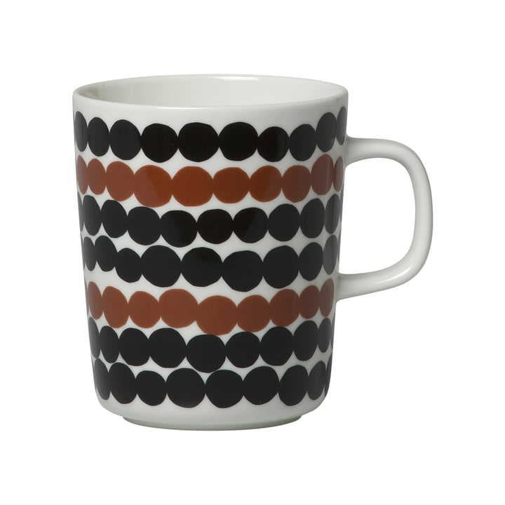 Oiva Siirtolapuutarha Cup with handle 250 ml from Marimekko in white / brown / black