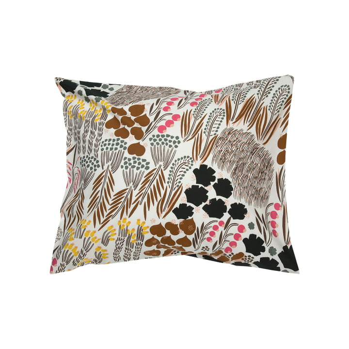 Pieni Letto pillow case 65 x 65 cm from Marimekko in off-white / brown / green