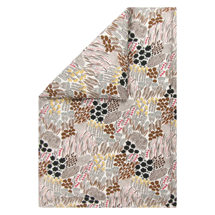 Pieni Letto blanket cover 140 x 200 cm from Marimekko in off-white / brown / green