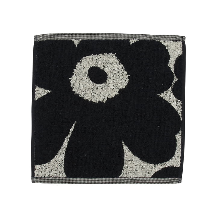 Unikko Jacquard mini towel 30 x 30 cm from Marimekko in cotton white / dark blue