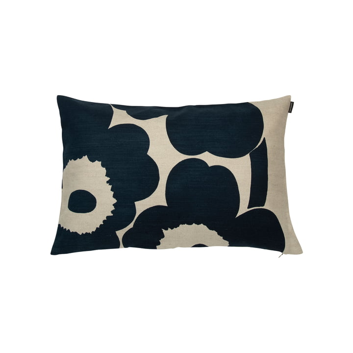 Unikko 40 x 60 cm cushion cover from Marimekko in linen / dark blue