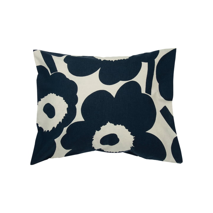Unikko 50 x 60 cm pillow case from Marimekko in cotton white / dark blue