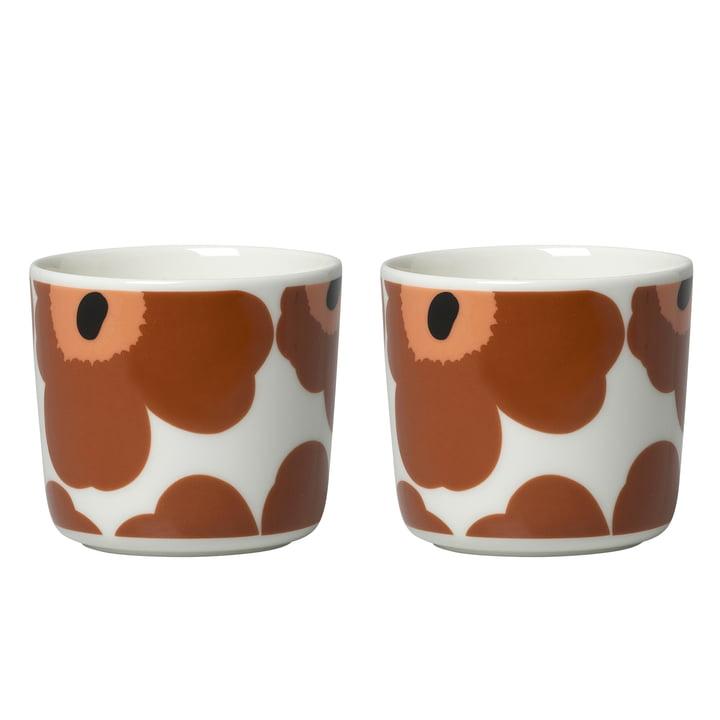 Oiva Unikko mug (set of 2) 200 ml from Marimekko in white / brown / black