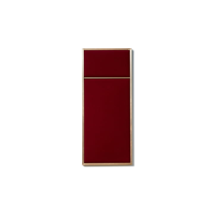Nouveau Pinboard in S, 62.3 x 27.6 cm, brass / rouge noir from Please wait to be seated