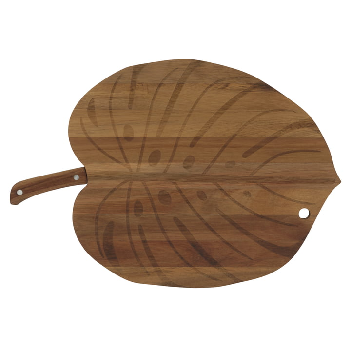 Monstera serving tray including knife, Acacia / stainless steel from Doiy