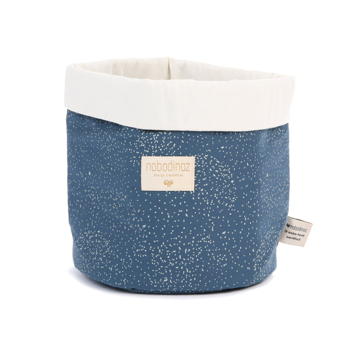 Panda storage basket medium, 24 x 20 cm, gold bubble / night blue by Nobodinoz