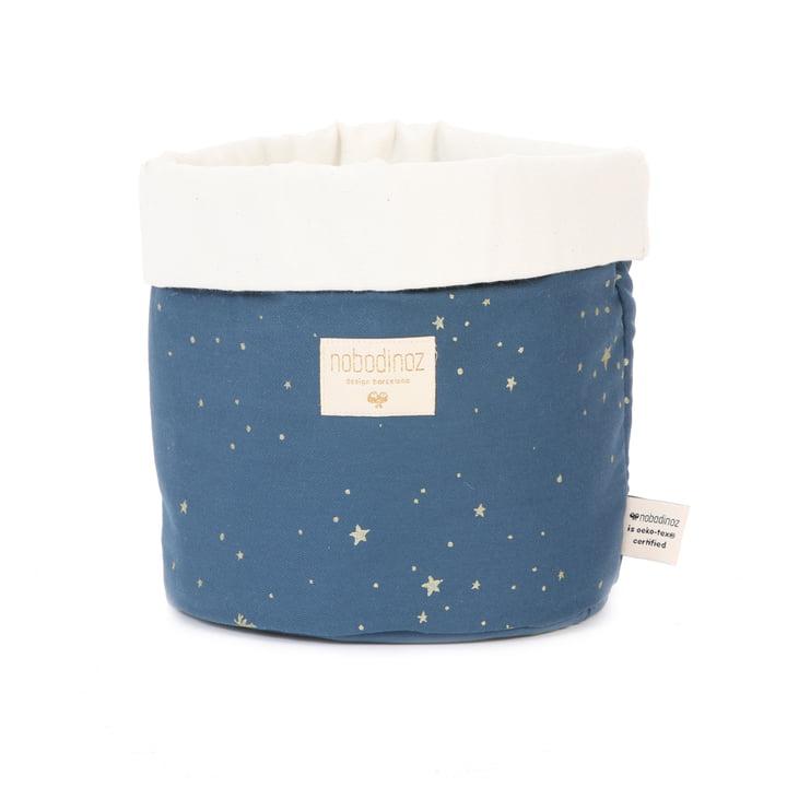 Panda storage basket medium, 24 x 20 cm, gold stella / night blue by Nobodinoz