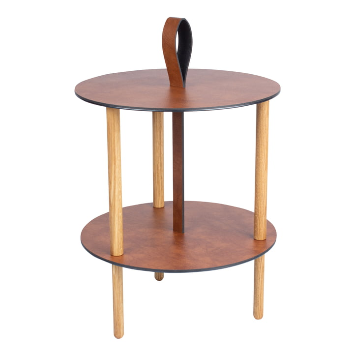 Strap side table, Ø 38 x H 46 cm, natural oak / Bull cognac by LindDNA
