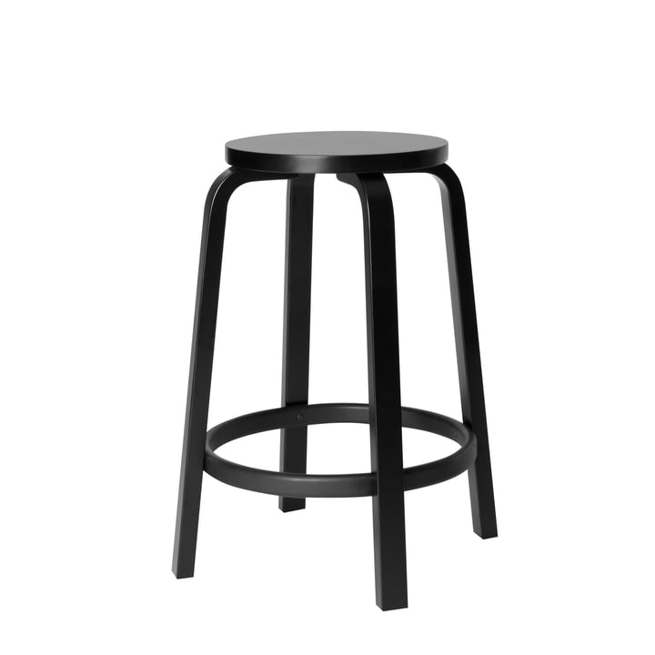 64 bar stool H 65 cm by Artek in black birch lacquered