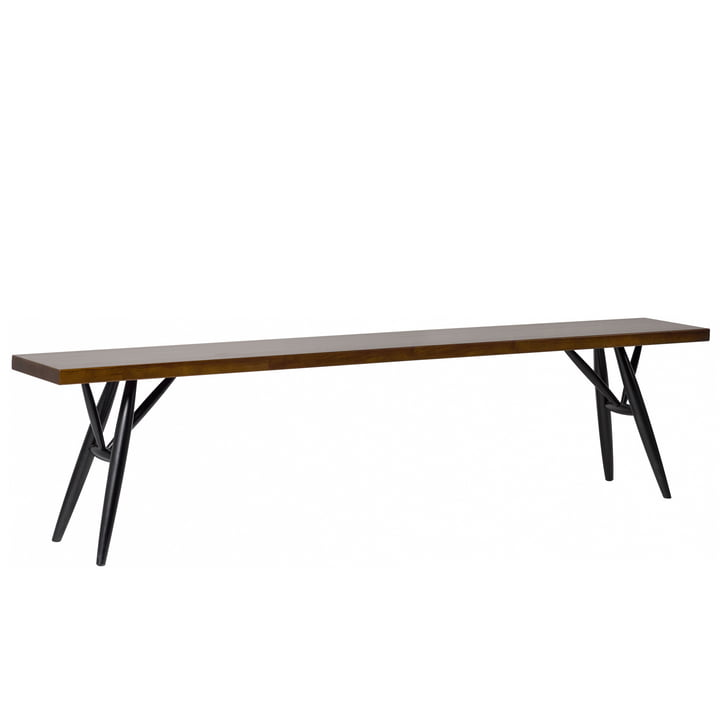 Pirkka bench 3-4 seater by Artek in black / brown