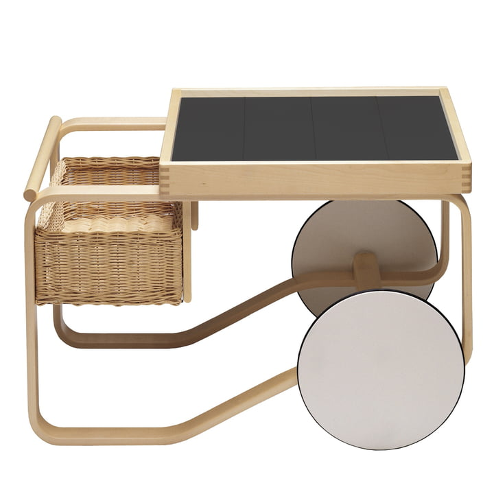 900 tea trolley by Artek in natural birch / black
