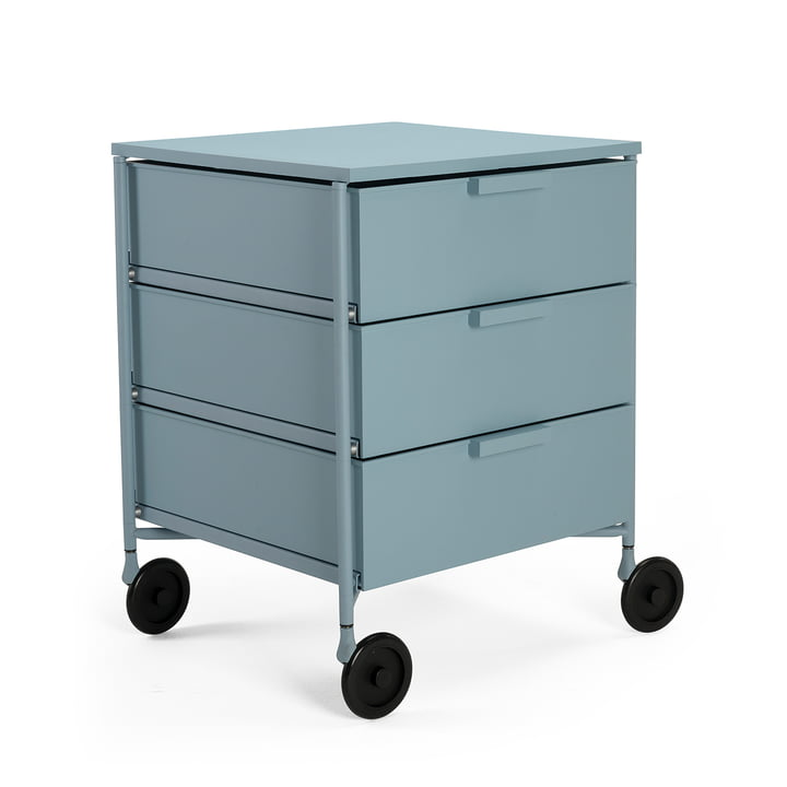 Mobil container with castors, 3 drawers, light blue matt by Kartell
