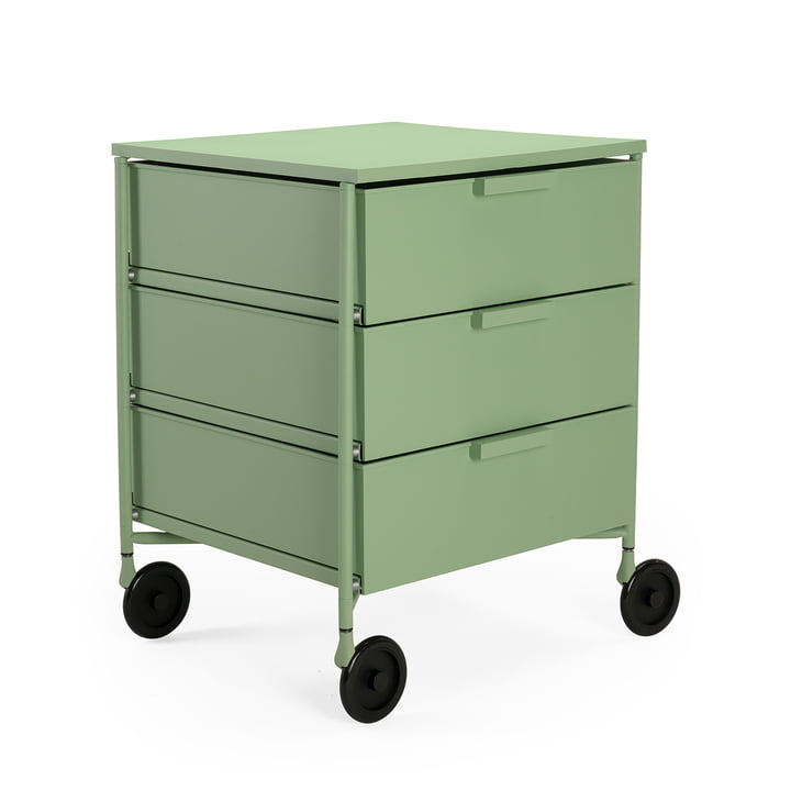 Mobil container with castors, 3 drawers, light green matt by Kartell