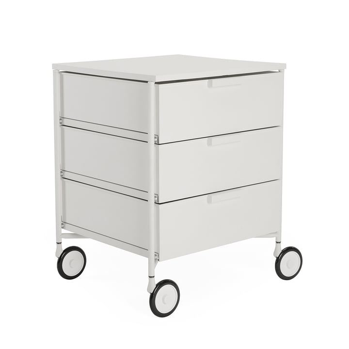 Mobil container with castors, 3 drawers, white matt by Kartell