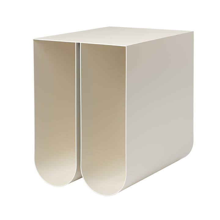 Curved side table by Kristina Dam Studio in beige