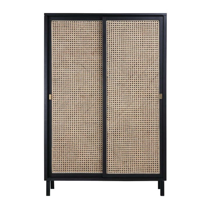 Retro Webbing chest of drawers, with sliding door, black by HKliving