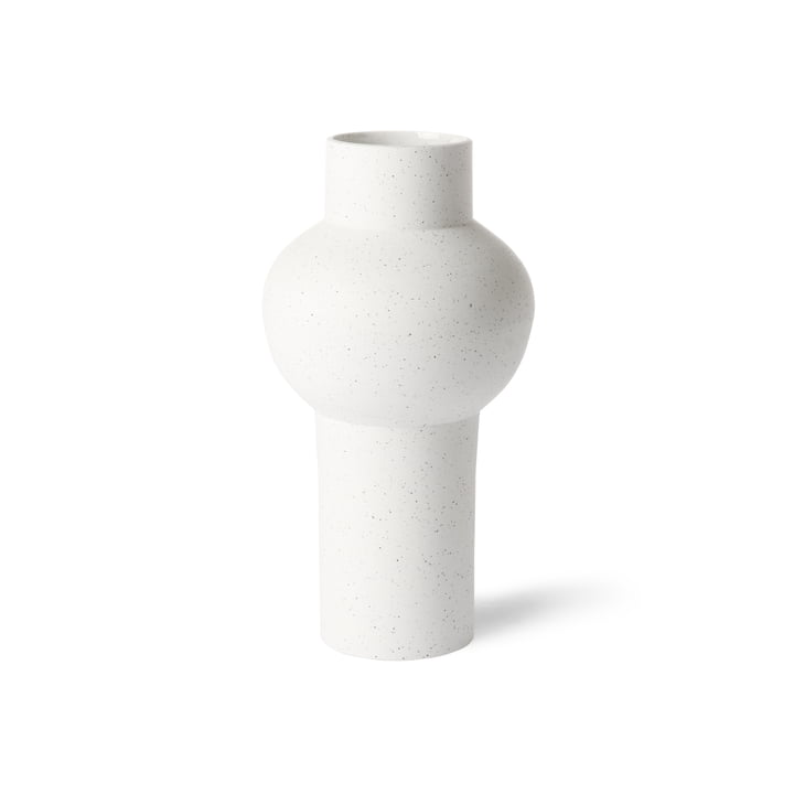 HKliving - vase straight M, Ø 15 x 30.5 H cm, white speckled
