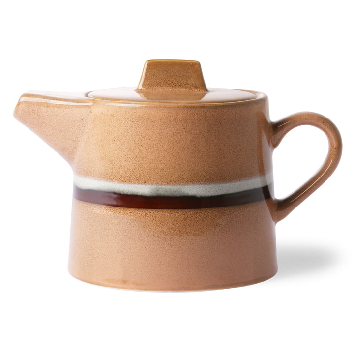 70's teapot Stream 1.2 l by HKliving in peach / white / brown