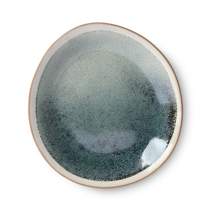 70's plate Ø 22 cm by HKliving in green blue