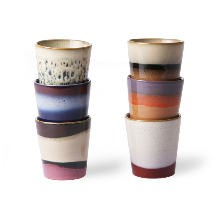70's mug 0.18 l (set of 6) by HKliving in multicolor