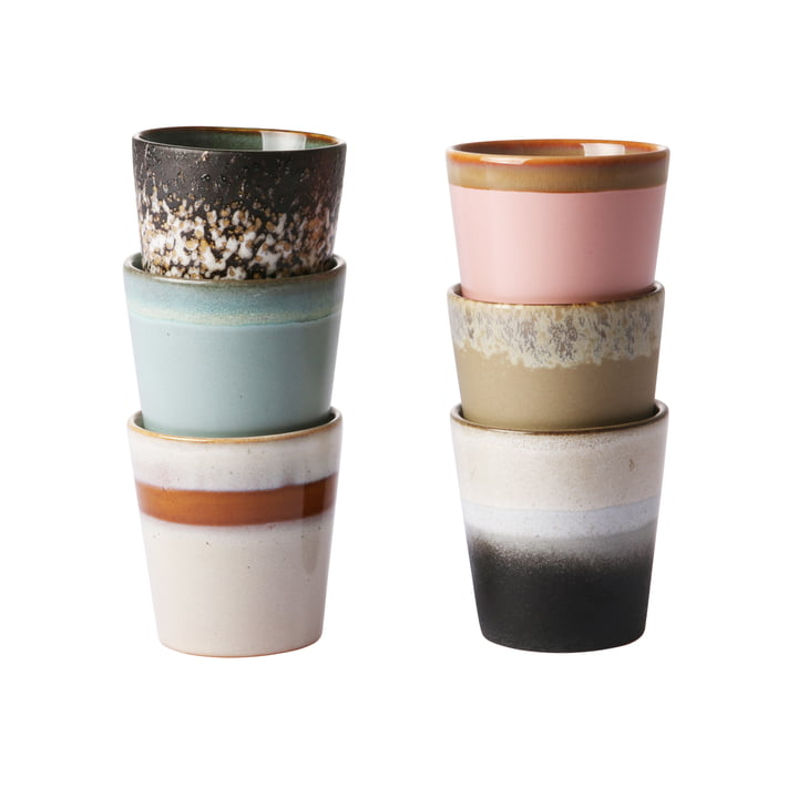 70's Cup 0.18 l (set of 6) from HKliving in multicoloured