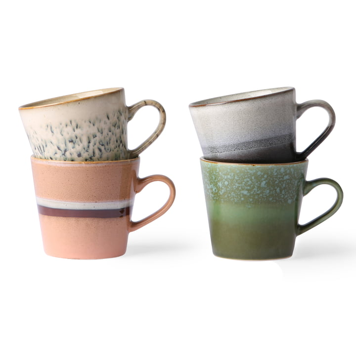 70's Cappuccino cups 0,3 l (4 pcs.) from HKliving in multicolor