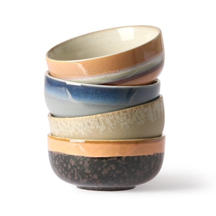 70's tapas bowls (4 HKliving ) Ø 11 cm by HKliving in multicolor