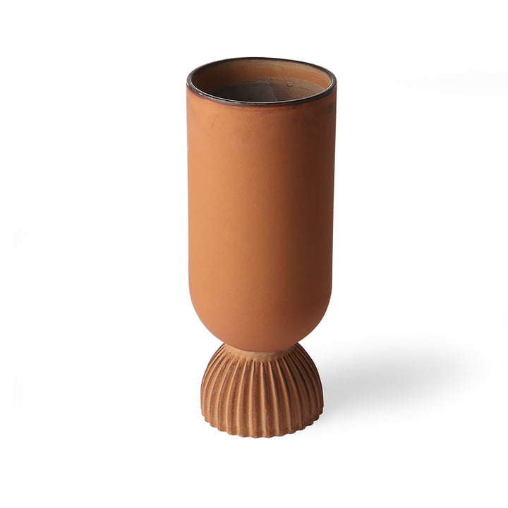 Ribbed vase, Ø 11 x H 25 cm, rustic orange by HKliving