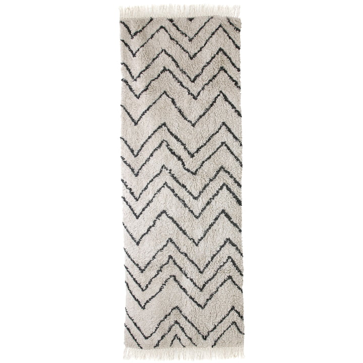 Runner Zigzag 75 x 220 cm by HKliving in black and white