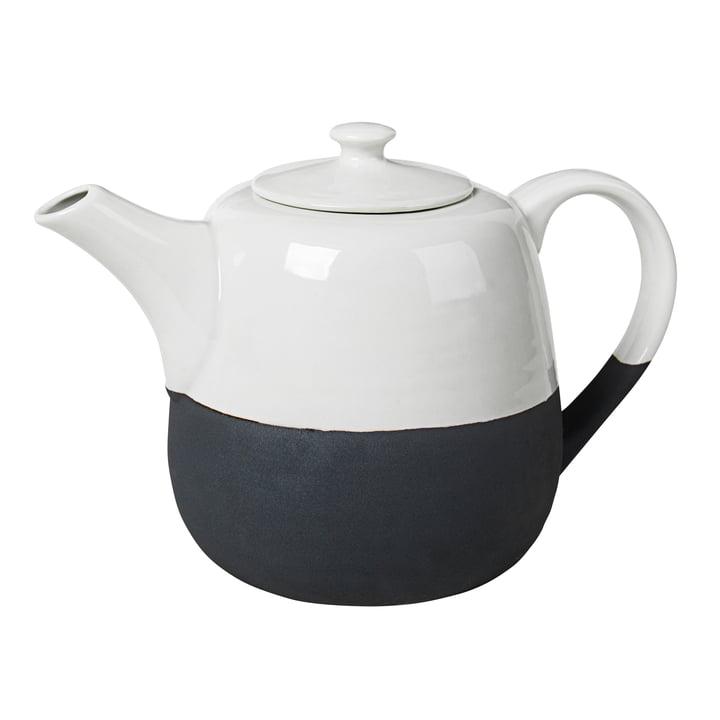 Esrum teapot 1.3 l, ivory glossy / gray matt by Broste Copenhagen