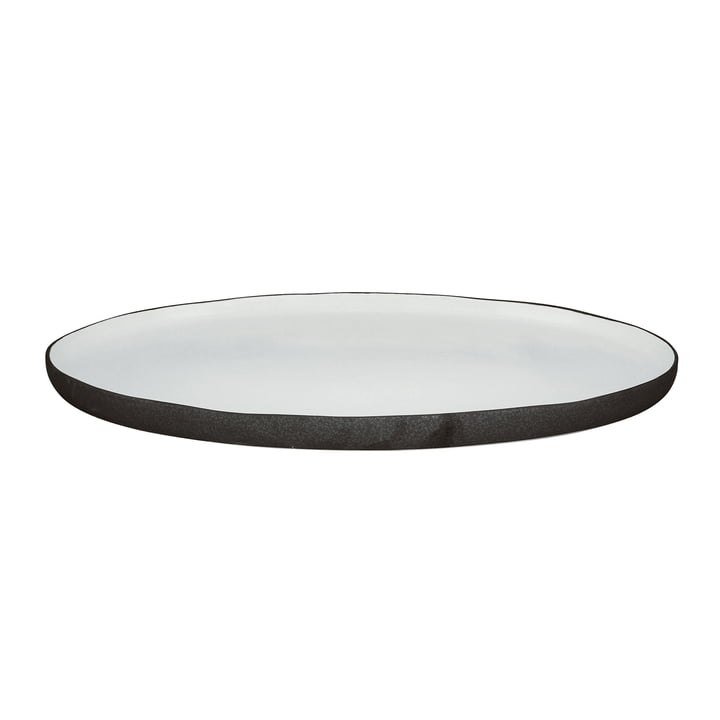 Esrum serving plate oval L, 39 x 26.5 cm, shiny ivory / matt gray by Broste Copenhagen