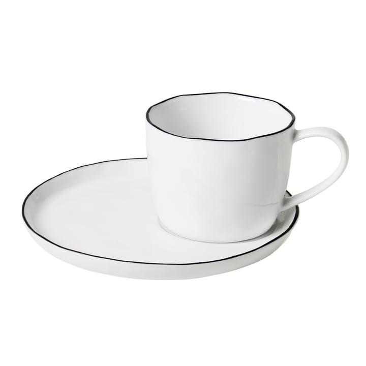 Salt cup and saucer L, 15 cl, white / black from Broste Copenhagen