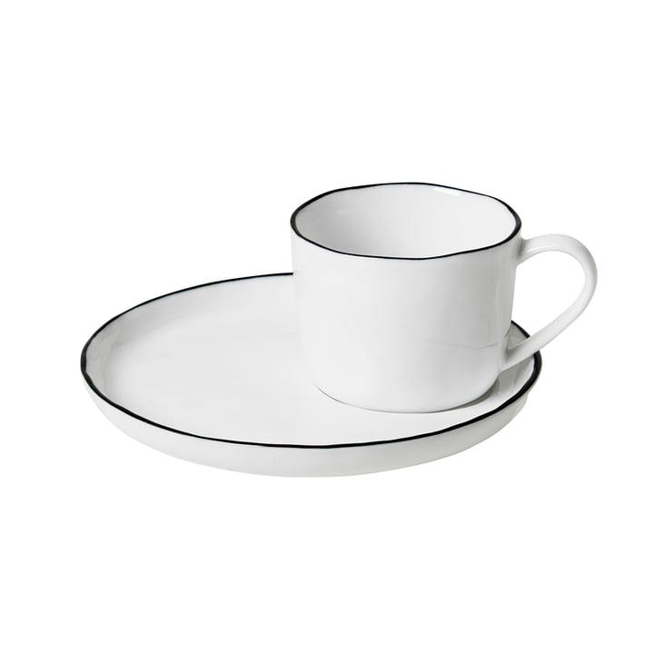 Salt cup and saucer S, 10 cl, white / black from Broste Copenhagen
