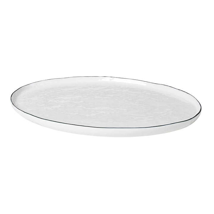 Salt serving plate oval, 38.5 x 26.5 cm, white / black from Broste Copenhagen