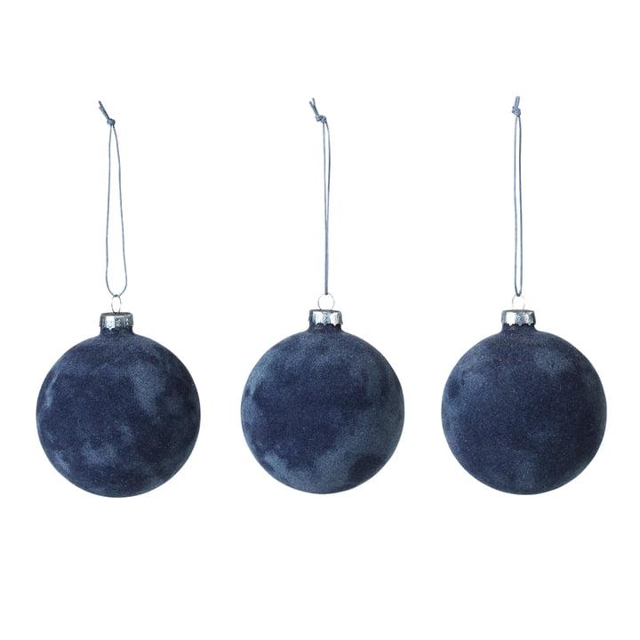 Alcan Christmas tree balls, dark blue (set of 3) by Broste Copenhagen