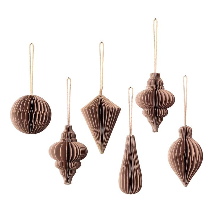 Christmas Mix decoration pendant, Ø 5 x H 7 cm, indian tan (set of 6) by Broste Copenhagen